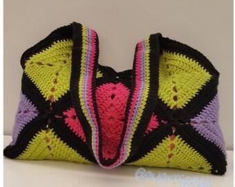 Color Block Granny Square Crochet Tote