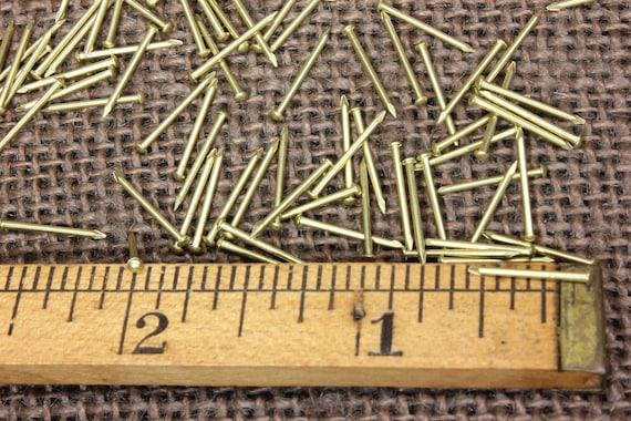 "1//4"" SOLID BRASS BRADS 50 NAILS 20 gauge Escutcheon pins tiny head USA made!"