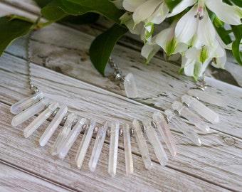 White titanium quartz necklace, Raw crystal statement necklace, Ice Queen pointy necklace