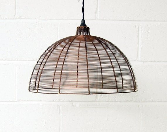 Antique Copper Wire Large Dome Pendant Light Shade