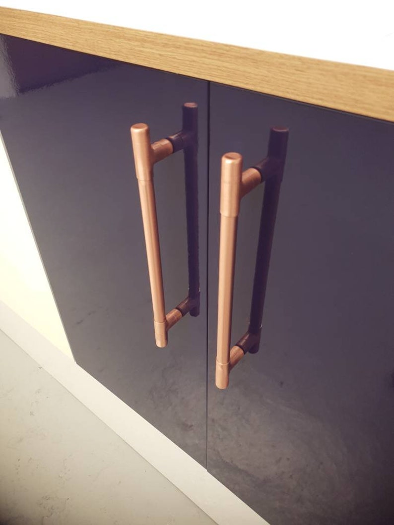 Modern Copper T Bar Handle Kitchen Door Handle Cabinet Pull Etsy