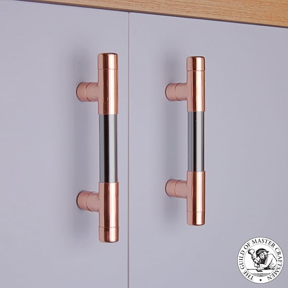 Copper & Chrome T Bar Door Pull Handles Copper Door Handles | Etsy