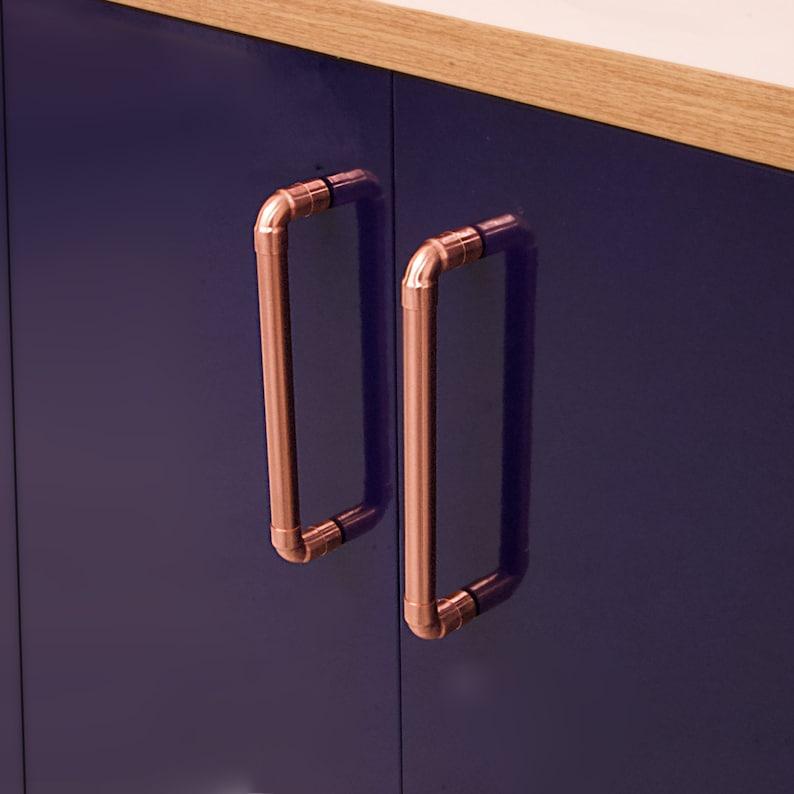 Modern Copper Pull Handle Cabinet Hardware Kitchen Cabinet Etsy