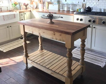 farmhouse kitchen island etsy - Farmhouse Kitchen Island