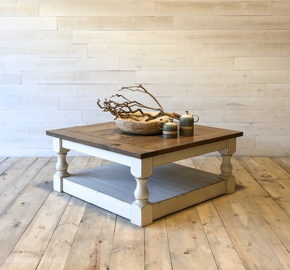Antique White Harvest Coffee Table Etsy