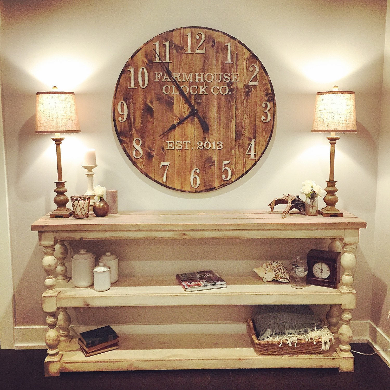 Farmhouse Clock Co Standard Numeral Wooden Wall Clock Etsy