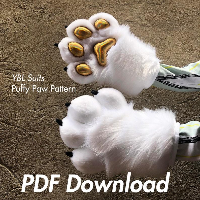 Puffy Fursuit Paw Pattern PDF DOWNLOAD image 1