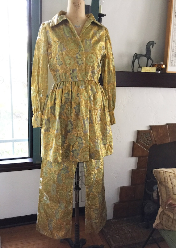 1970s Gold Green Dress w Pants Evening Metallic Si