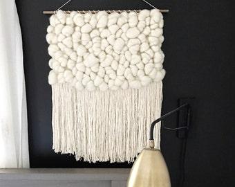 Handmade Woven Wall Hanging    Cream Roving Weaving