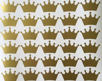 20 Crown stickers, Princess Crown, princess theme party, gold crowns decals, gift favors sticker, crown decor, envelope seals, girls party.