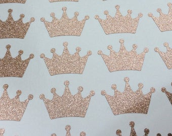 Glitter Crown stickers, Set of 20 crown decals, Princess themed party stickers, rose gold crown stickers, favors stickers, envelope seals