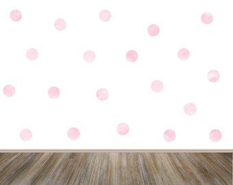 Blush Pink Watercolor Polka Dots Wall Decals, Confetti Wall Stickers, Girl Room Stickers, Pastel Pink Nursery Decor, Playroom Polka Decor