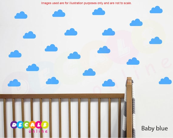 clouds wall decal clouds stickers nursery wall decal | etsy