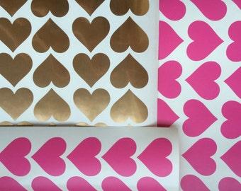 Heart Stickers (set 30), Heart Vinyl Wall Decals, Heart wall decals, Envelope seals, Heart Wall decor, Wall Art, Nursery room wall decals.