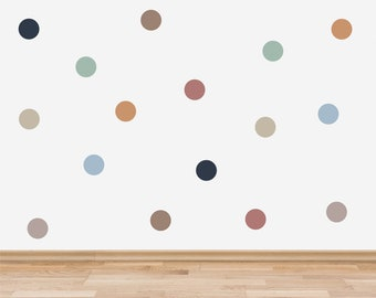 Boho Polka Dot Wall Stickers for Kids' Bedroom, Boho Decor for Nursery, Bohemian Style Spots Wall Decals, Neutral Wall Stickers for Playroom