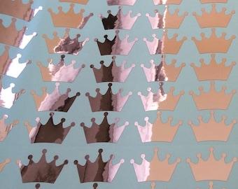Rose Gold Crown stickers, 20 crown decals, Princess themed party stickers, rose gold crown stickers, favors stickers, crown envelope seals.
