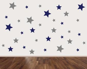 125 Star Wall Art stickers 3 Sizes 2 Colours, Stars Pattern wall decals, Star nursery wall stickers, star stickers, Star decals, Stars decor