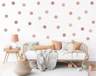 Dusty Rose and Taupe Polka Dot Wall Stickers, Dusky Pink and Beige Spot Nursery Wall Stickers, Dusty Pink Baby Room Decor, Nursery Wall Art
