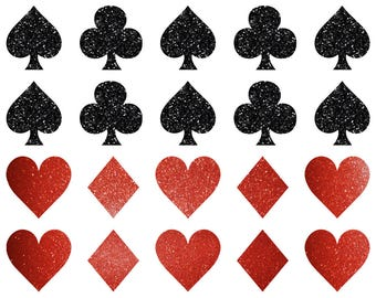 24 Playing Cards SYMBOLS wall stickers, Glitter vinyl card symbol Suit decals, Envelope seals, playing cards party stickers, poker stickers
