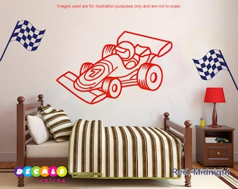 Sports Car Wall Decal / Race Car Wall Sticker / Sports Car & Flags Decals / Boys Room Decor / Car Wall Art / Racing Car Wall Decor/Car Decal