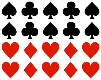 32 Playing Cards Symbols Vinyl stickers, poker card suits stickers, Envelope seals, playing cards party stickers, poker stickers