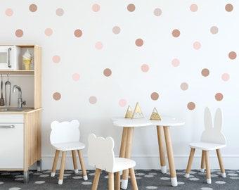 Boho Polka Dot Wall Decals, Neutral Polka Dot Wall Stickers, Nursery Wall Stickers, Neutral Rainbow Wall Decor, Earth Tones Kids Room Decor