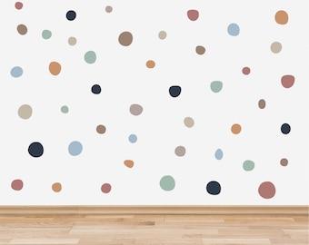 Boho Polka Dot Wall Stickers, Bohemian Style Neutral Rainbow Hand Drawn Polka Dots Wall Decals, Boho Pattern Nursery Wall Decor, Kids Room