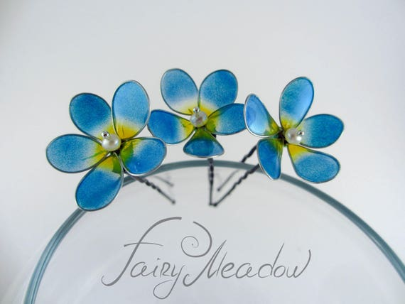 Hair clip with pansies and handmade forget-me-nots.A romantic gift for a girl.Decoration for hair at the prom.Romantic style Gentle accent