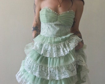 Vintage Strapless KeyLime Cupcake Organza Lace Party Dress 8