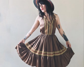 Vintage Betsey Johnson Coca Satin Ric Rac Trim Halter Dress