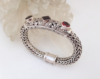 Sterling Silver Bracelet, Hand Crafted, Garnet Gemstone