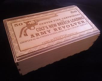 Vintage Style cartridge Box-Colt Peacemaker