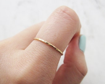 Thin gold ring, 14k gold fill ring, hammered gold ring, gold stacking ring, band ring, dainty ring, delicate gold ring ,minimalist