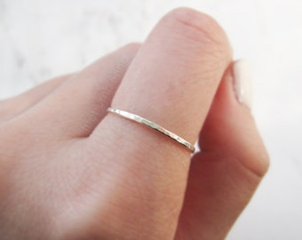 Thin sterling silver ring //silver stacking ring, hammered ring, thin silver ring, hammered sterling silver ring, stackable ring, minimalist