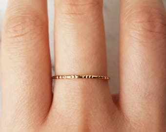 Thin lined gold ring, 14k gold filled ring, hammered gold ring, gold stacking ring, band ring, dainty ring, delicate gold ring, minimalist