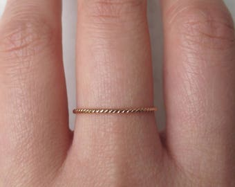 Ultra thin rose gold twist ring, 14k rose gold fill ring, rose gold ring, rose gold stacking ring, band ring, dainty ring, delicate ring