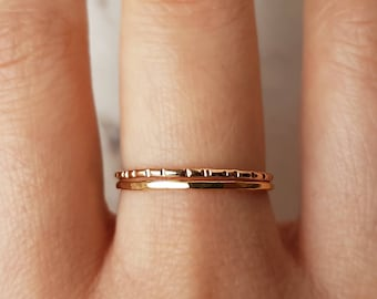 Thin hammered gold ring, lined ring set of 2//14k gold fill ring, hammered gold ring, lined ring, gold stacking ring, band ring, dainty ring