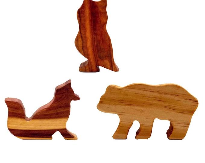 Wooden Animal Tree Blocks Fox Bear Owl