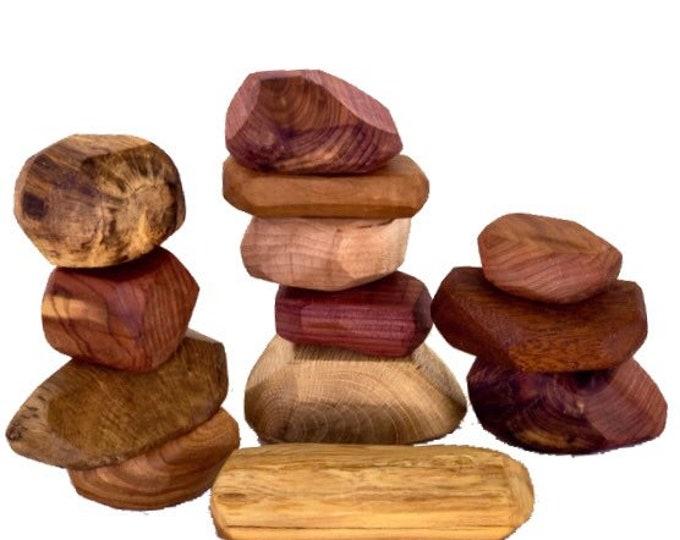 Wooden Balancing Tumi Ishi Stones 13pc