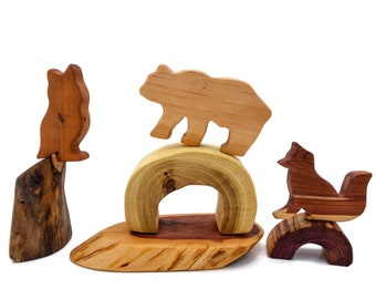 Wooden Animal Tree Blocks
