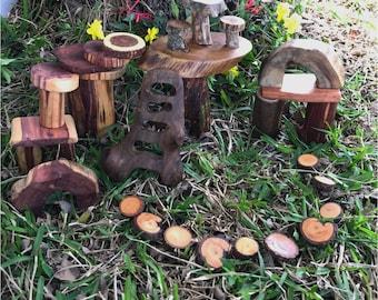 Make Believe Woodland Tree Block Set 32pc - Fairy Garden Play Set -