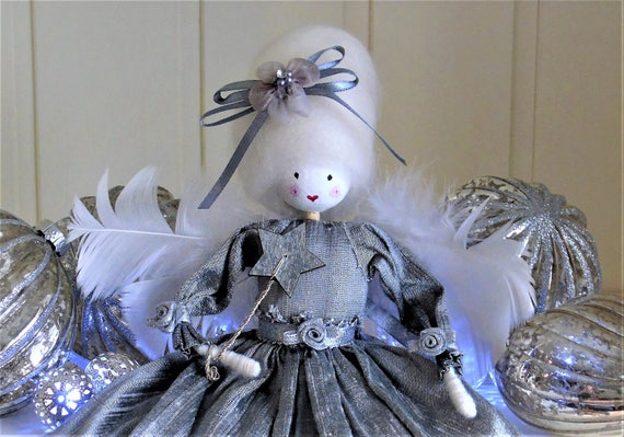 Christmas Tree Fairy Tree Topper Antique Mercury Silver