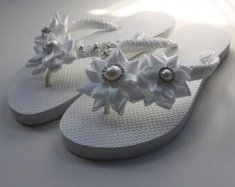 f54752745db677 White Rolled Flowers Flip Flops   Bridal Flip Flops   Wedding Flip Flops    Bridesmaids - Size 5