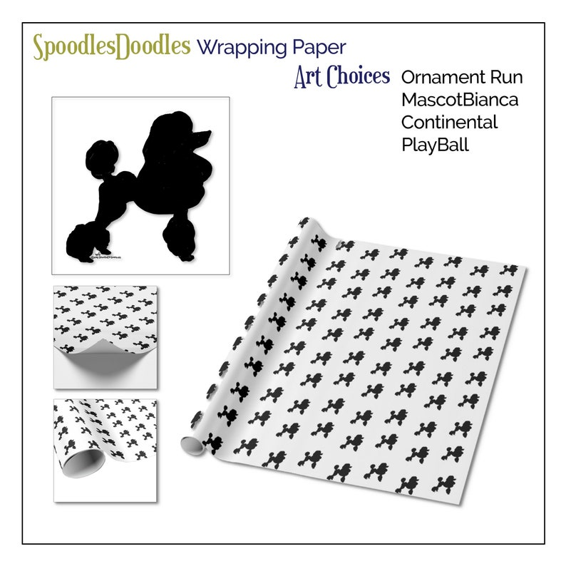 Standard Poodle \u2022\u2022  Ornament Run \u2022\u2022 WRAPPING PAPER \u2022\u2022  SpoodlesDoodles Holiday Gifts