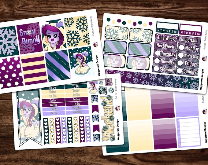 Featured listing image: LIMITED TIME* Vertical 4 Piece Weekly Planner Functional Sticker Kit / Snow Bunny / Winter / Happy Planner / Erin Condren