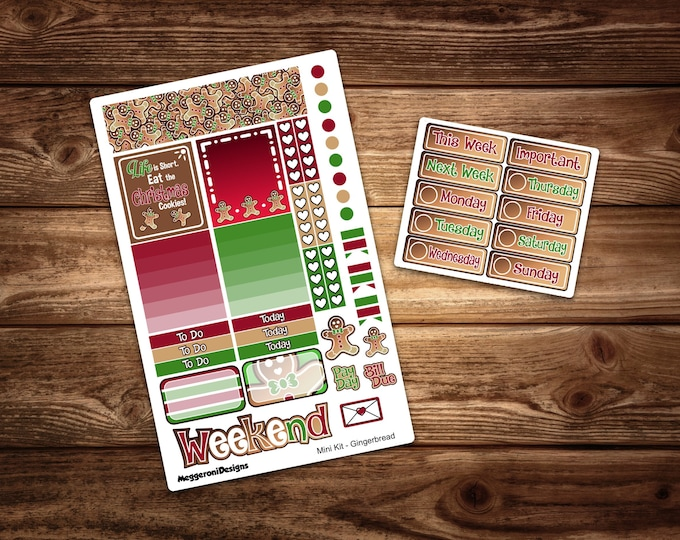 Featured listing image: LIMITED TIME* Gingerbread Planner Stickers / Mini Weekly Kit/ Holiday Sticker/ Erin Condren Horizontal Layout /Happy Planner/ Print Pression