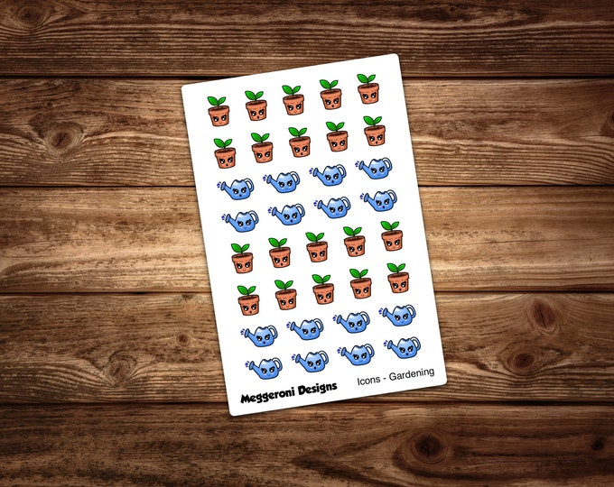 Featured listing image: Cute Gardening Icons / Happy Planner / Erin Condren / Bujo
