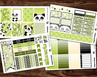 Full NEW LAYOUT* Vertical 4 Piece Weekly Planner Functional Sticker Kit / Peek-a-Boo Panda / Happy Planner / Erin Condren
