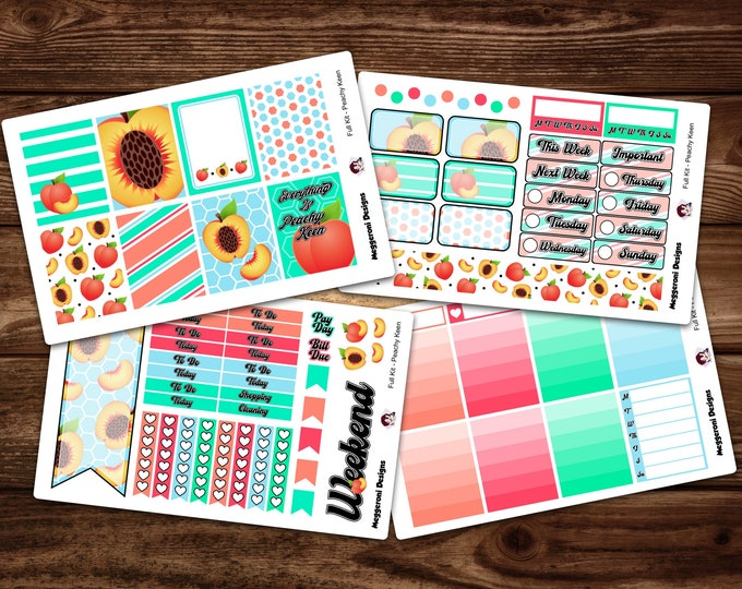 Featured listing image: Peachy Keen  Vertical 4 Piece Weekly Planner Functional Sticker Kit