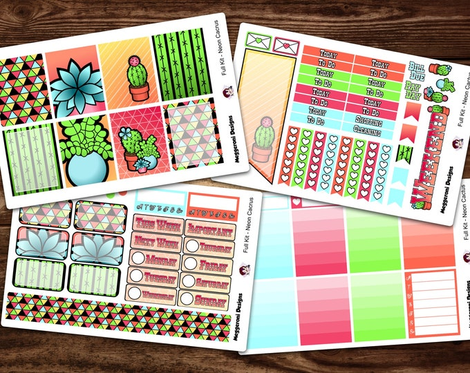 Featured listing image: Full NEW LAYOUT* Vertical 4 Piece Weekly Planner Functional Sticker Kit / Neon Cactus / Happy Planner / Erin Condren